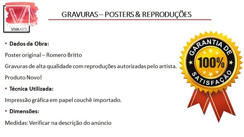 gravuras posters oficiais romero britto - land of milk honey