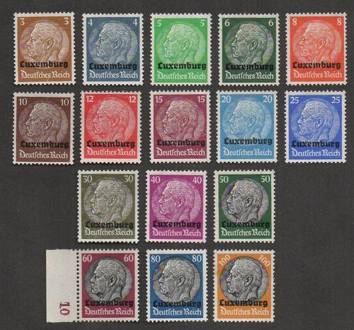 grc41 - selos alemanha 1940 mi#1/16 luxemburgo novos c/ goma