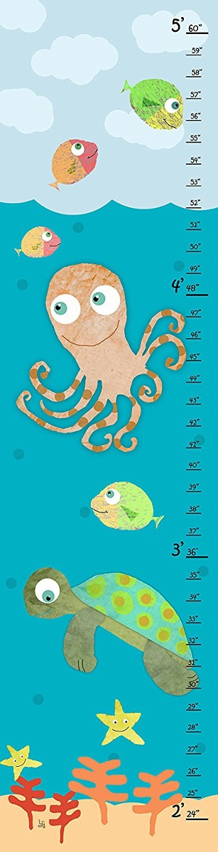 Green Leaf Art Growth Chart, Sea Animals Ii