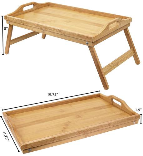 greenco mesa de desayuno plegable de bambú, mesa de escri