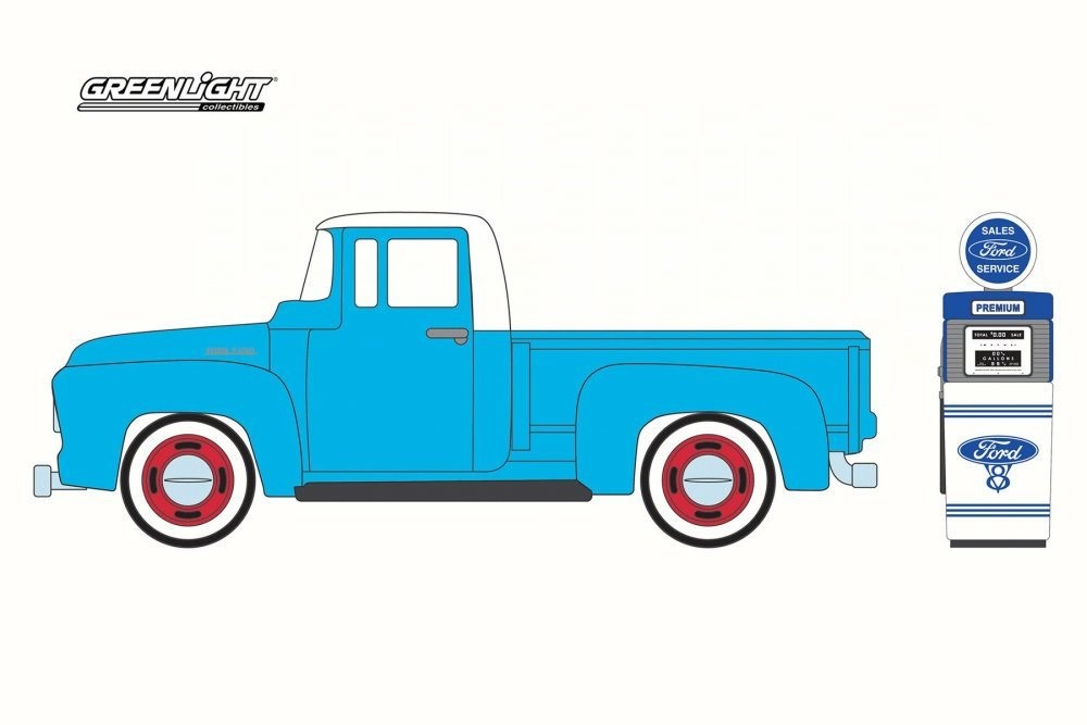 Greenlight 1954 Ford F-100 with Vintage Ford Motor Company Gas Pump Light Blue 97030A//48-1//64 Scale Diecast Model Toy Car