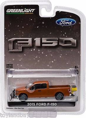 greenlight ford lobo 2015 f-150 with snow plow and salt.1:64
