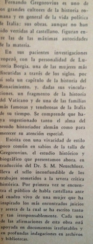 gregorovius, f. -  lucrecia borgia, editorial americalee, bu