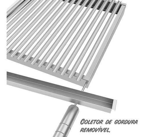 grelha argentina inox 55x50cm + coletor gordura 100% inox