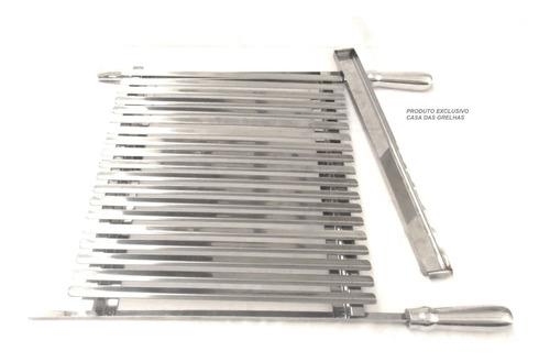 grelha argentina inox 60cm + suportes churrasqueira até 90cm