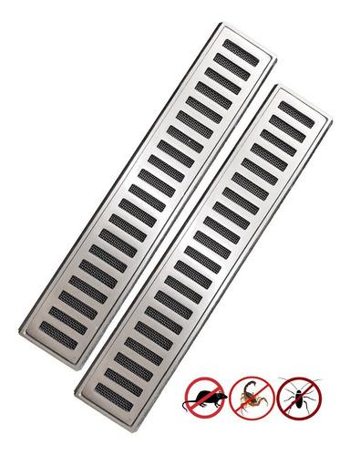 grelha linear 10x100 aluminio tela anti insetos módulos 50cm