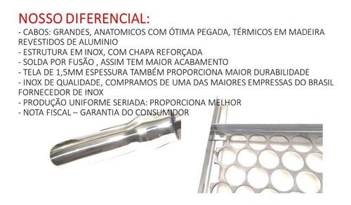 grelha moeda inox para churrasco 80x48