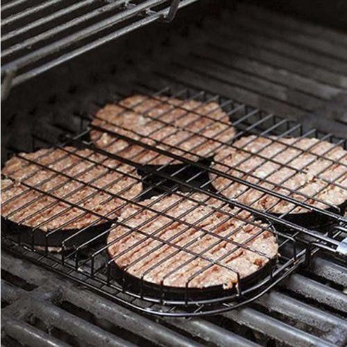 grelha para hambúrguer preta com cabo em madeira prana
