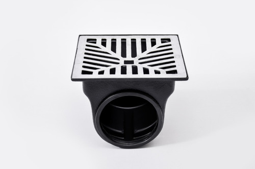 grelha pluvial 20x20 concava aluminio + coletor saída lat.