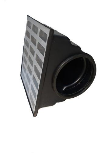 grelha pluvial 20x20 reta aluminio + coletor saída lateral