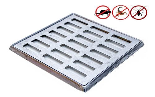 grelha pluvial 20x20 reta alumínio com suporte + tela