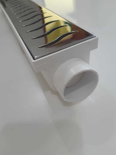 grelha ralo linear 6x150 inox polido com tela - 3 modulos