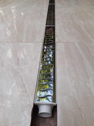 grelha ralo linear 6x200 inox polido com tela - 4 modulos