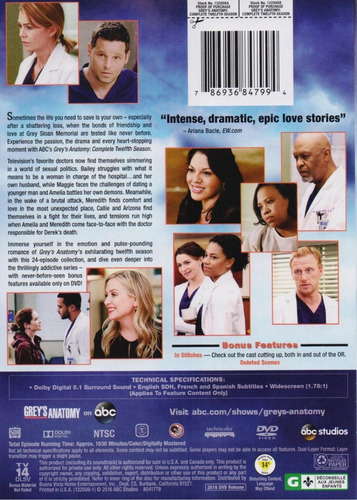 grey ' s anatomy temporada 12 doce dvd