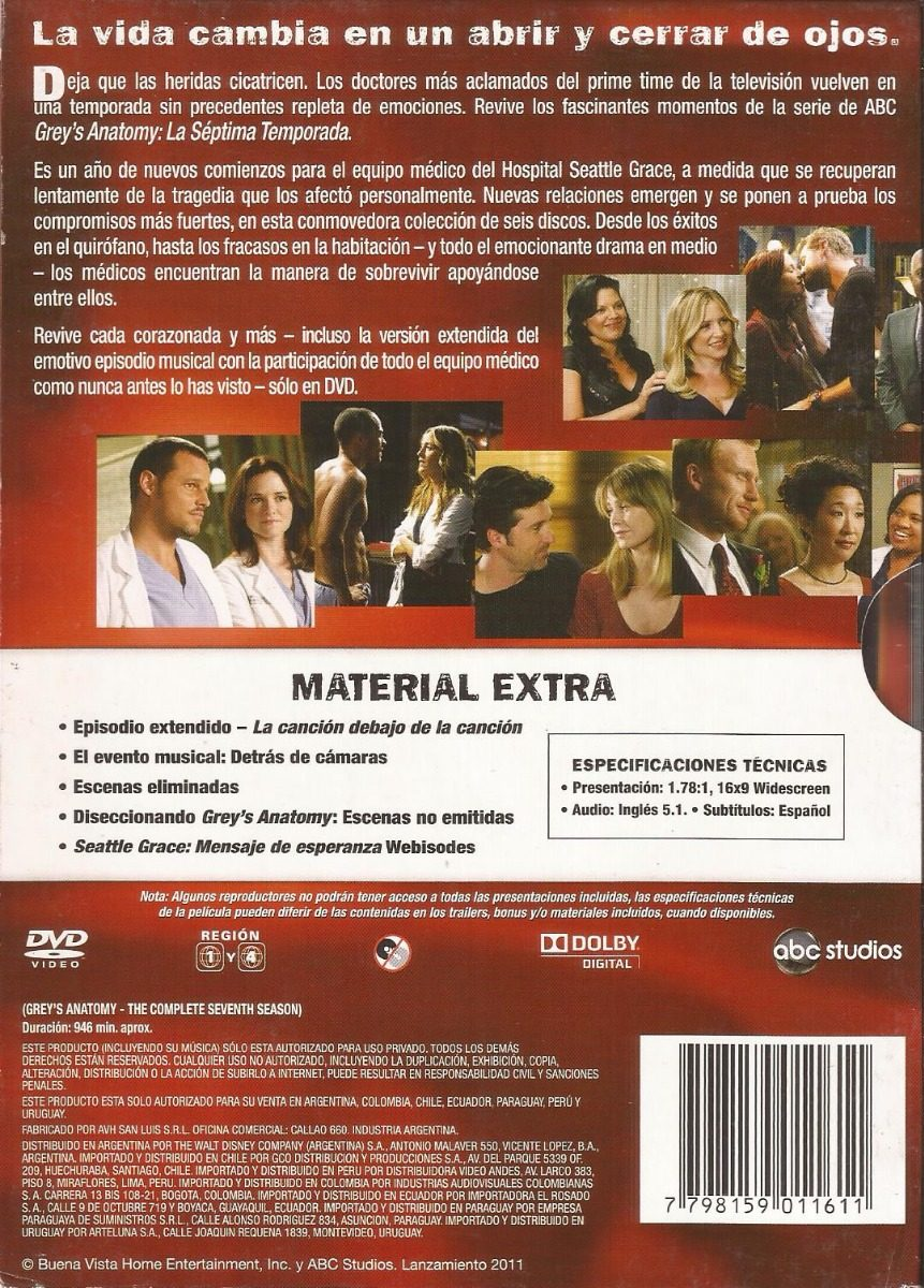 Grey\'s Anatomy Septima Temporada Completa Original Dvd - $ 250,00 en ...