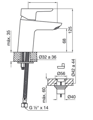 griferia baño fv lavatorio puelo monocomando 0181/b5