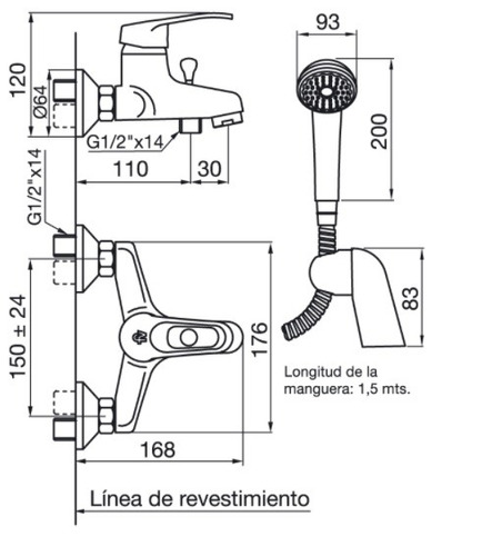 griferia baño fv monocomando arizona bañera exter+ducha
