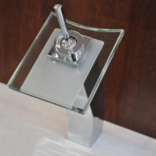 grifería baño monocomando alto cascada vidrio cuadrado cromo
