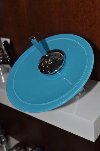 griferia baño monocomando cascada vidrio turquesa cromado