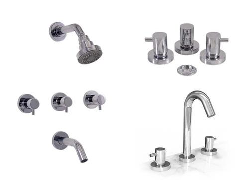 grifería de baño completa delta bona ducha lavatorio y bidet