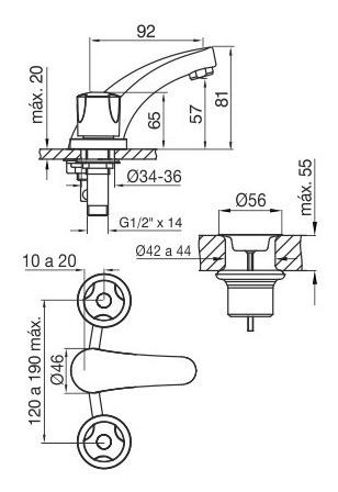 griferia de baño lavatorio fv pampa 0207/b6 cierre cuerito