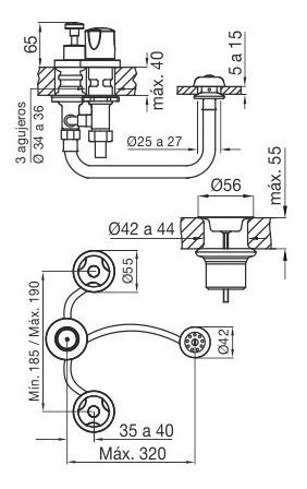 grifería de bidet con transferencia pampa 295/b6 cromo fv