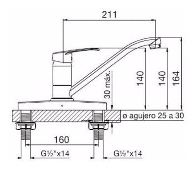 griferia de cocina fv arizona 0411.03/b1 monocomando doble
