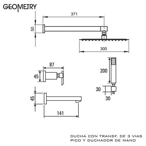 griferia ducha 3 vias pico duchador hidromet geometry lever