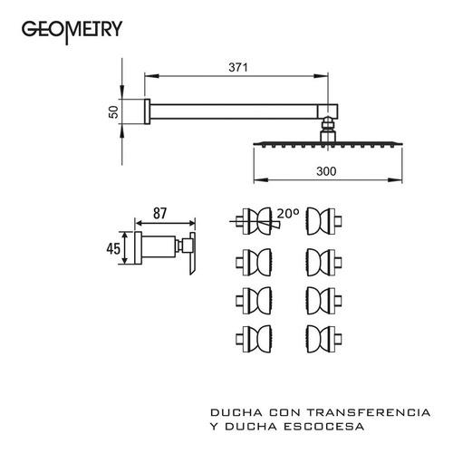 griferia ducha escosesa 2 vias hidromet geometry cruz