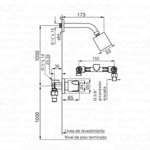 grifería ducha fv pampa bañera sin transferencia 109/b6