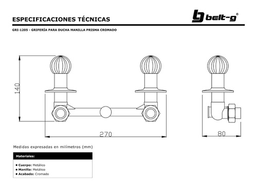 griferia ducha manilla prisma 1/4 vuelta belt-g gri-1205