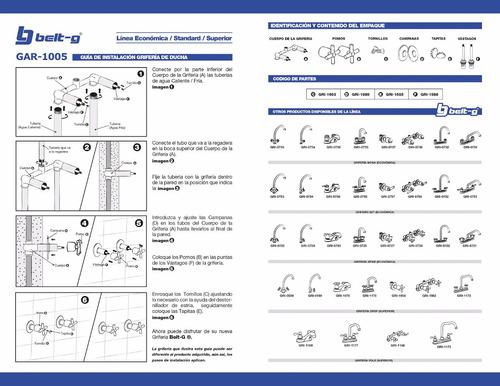 griferia ducha manilla spike 1/4 vuelta belt-g gri-0726