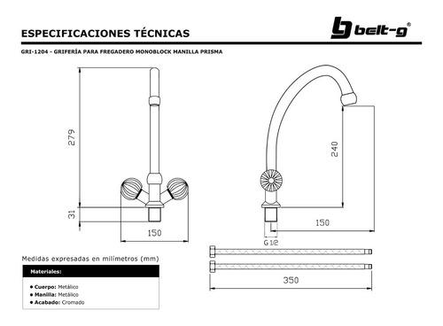 griferia fregadero monoblock prisma 1/4 v. belt-g gri-1204