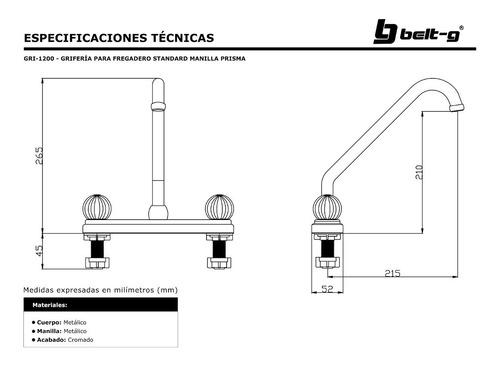 griferia fregadero standard1/4 vuelta prisma belt-g gri-1200
