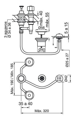 grifería fv arizona plus bidet cn transferencia baño 0295/b1