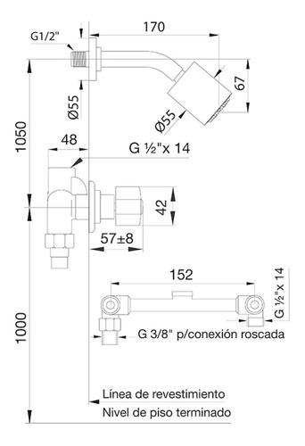 grifería fv b1 arizona p para ducha sin transferencia cromo