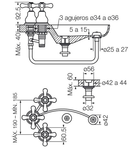 griferia fv denisse bidet 0295/64-cr proyectar materiales