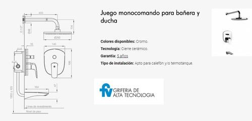griferia fv ducha epuyen monocomando transferencia 106/l2
