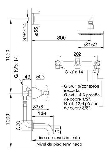 griferia fv margot ducha con transferencia 103/62 cromo oro