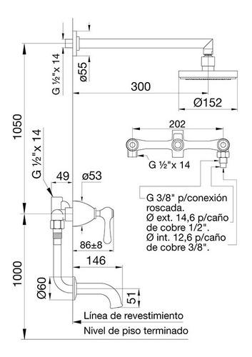 griferia fv margot lever ducha con transferencia 103/62l