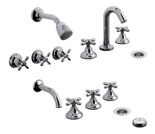 grifería fv newport kit 900.03/b2 baño ducha lavatorio bidet