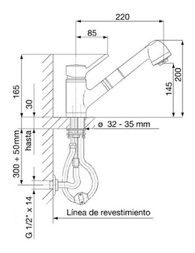 griferia fv swing mono cocina duchador extensible 0412.01/90