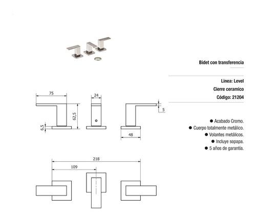 griferia hydros level bidet con transferencia 21204