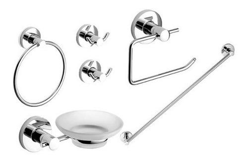 griferia kit accesorios baño 6 pz piazza domani metal vidrio