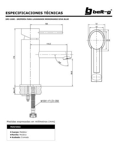 griferia lavamano monomando diva belt-g blue gri-1600