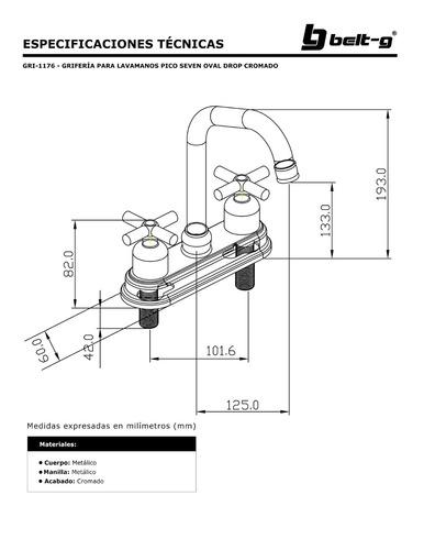 griferia lavamano pico seven oval drop cromo belt-g gri-1176