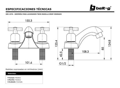 griferia lavamano twin manilla drop cromo belt-g gri-1976