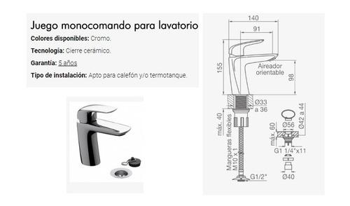 griferia lavatorio baño fv epuyen monocomando 0181/l2