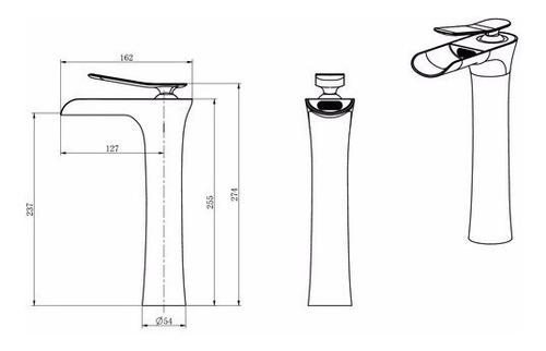 griferia lavatorio monocomando moderno cascada alta cromo