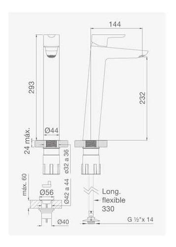 griferia monocomando  alto fv puelo ceramisur